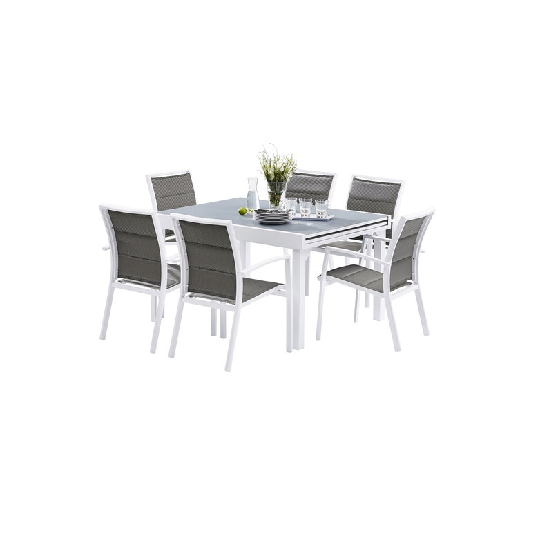 Salon de jardin Wilsa modulo t6/10 aluminium blanc, 6 personnes ...