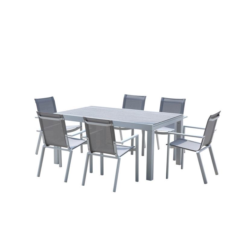 Salon de jardin Wilsa tulum t6/10 aluminium blanc, 6 personnes