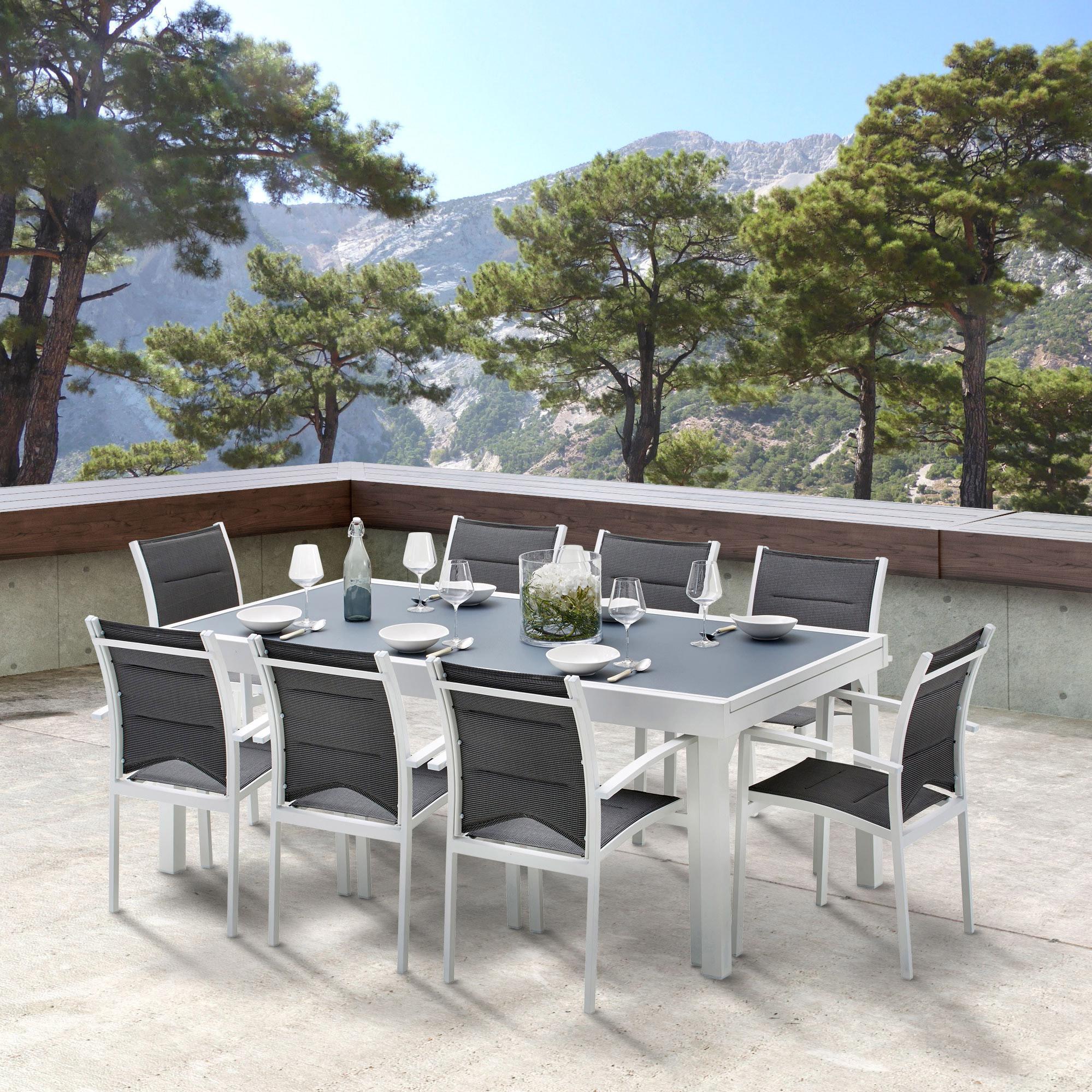 Salon de jardin Wilsa modulo t8/12 aluminium blanc, 8 personnes
