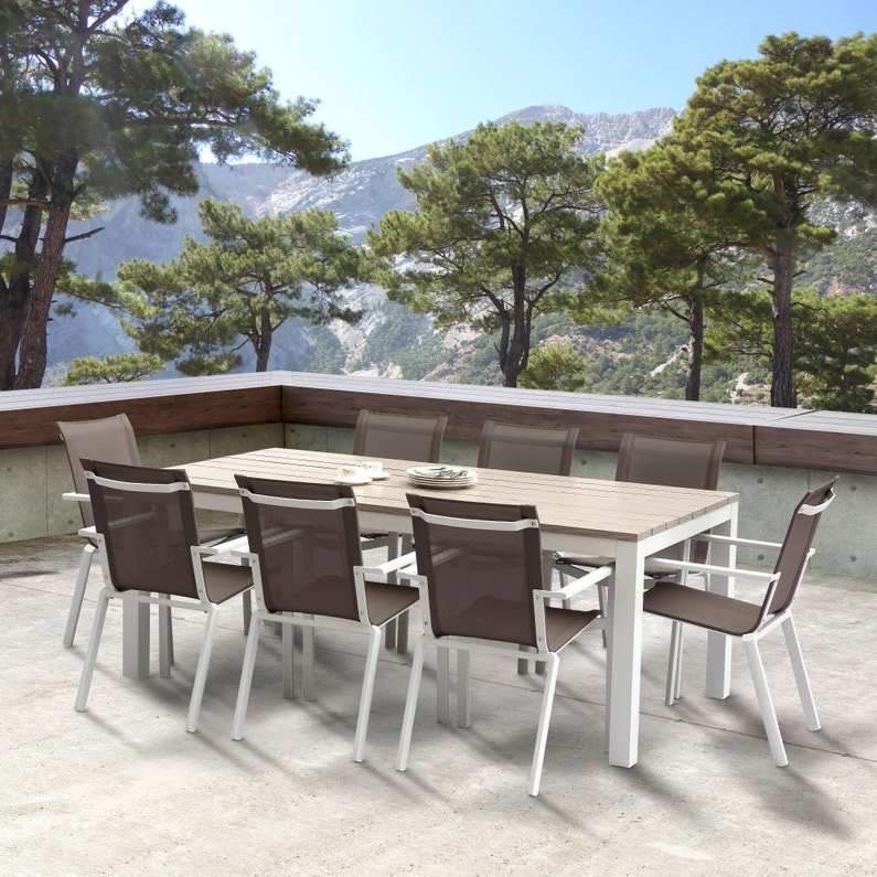 Salon de jardin Wilsa tampa fixe t8 aluminium blanc, 8 personnes ...