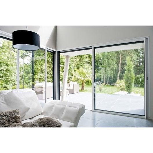 baie coulissante en aluminium blanc excellence h 215 x l 180 cm leroy merlin. Black Bedroom Furniture Sets. Home Design Ideas
