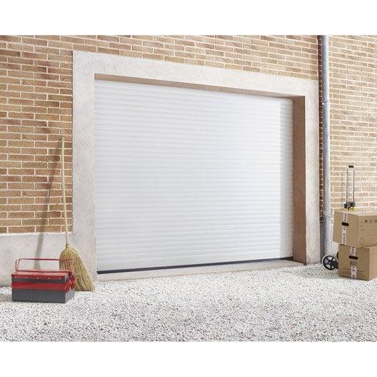 porte de garage enroulement primo 2 motoris e aluminium blanc 200 x 240cm leroy merlin. Black Bedroom Furniture Sets. Home Design Ideas