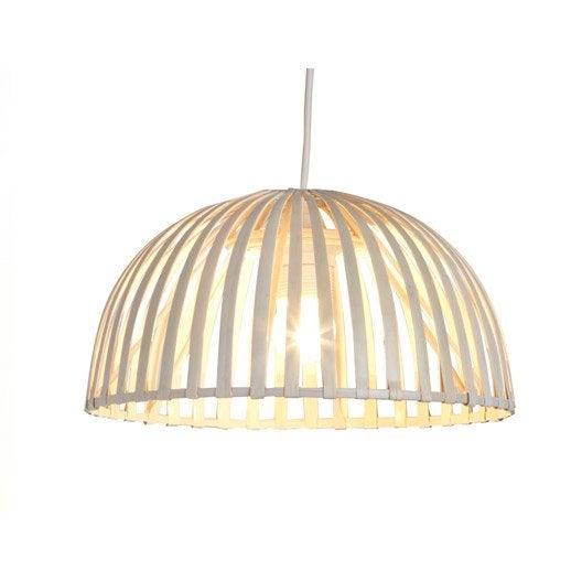 suspension nature hanoi bambou blanc 1 x 60 w lussiol. Black Bedroom Furniture Sets. Home Design Ideas