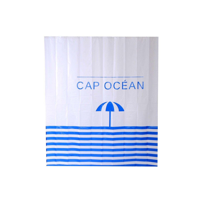 Rideau de douche en plastique multicolore l.180 x H.200 cm, Cap ocean SENSEA