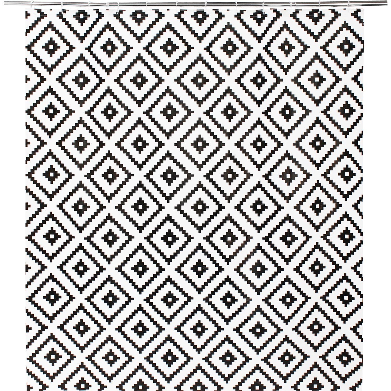 Rideau de douche en plastique noir l.180 x H.200 cm, Ethnic SENSEA