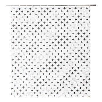 Rideau de douche en textile noir l.180 x H.200 cm, Cross SENSEA