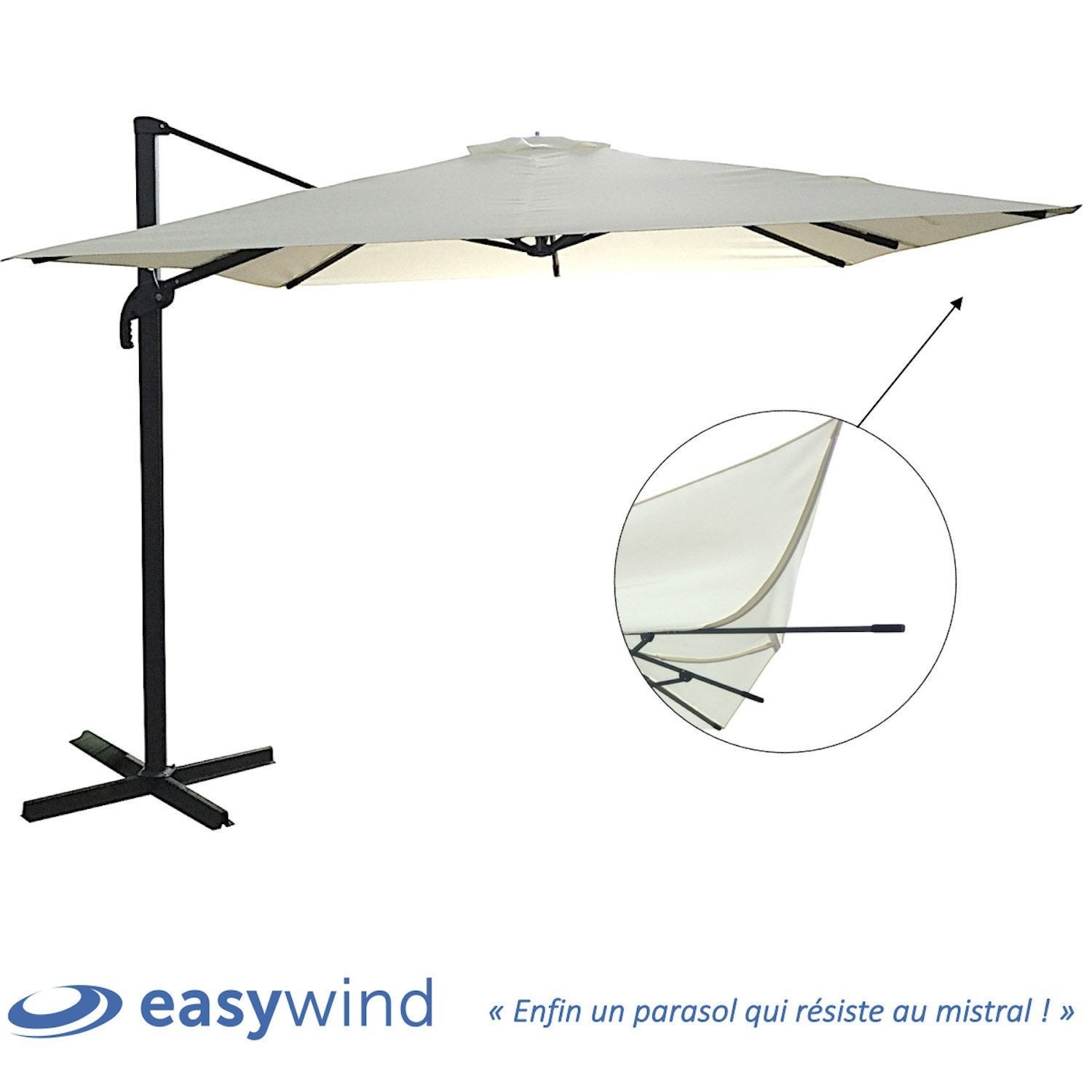 parasol anti vent easywind m t d port cru 2 7 x 2 7 m leroy merlin. Black Bedroom Furniture Sets. Home Design Ideas