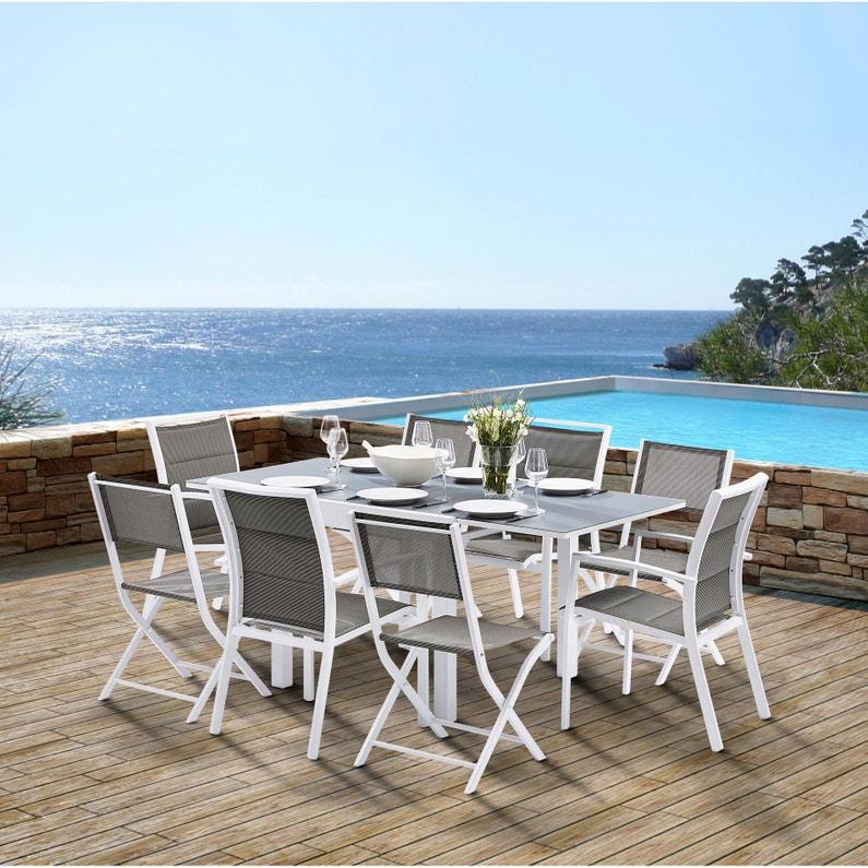 Salon de jardin Wilsa modulo t4/8 aluminium blanc, 8 personnes ...