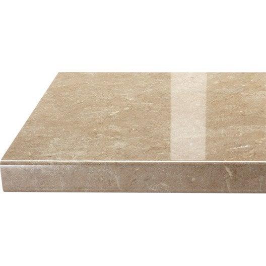 plan de travail droit stratifi granit beige 300 x 65 cm p 38 mm leroy merlin. Black Bedroom Furniture Sets. Home Design Ideas