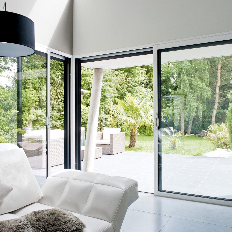 Carrelage Salle De Bain Limoges ~ Baie Vitr E Aluminium Blanc Brico Premium H 215 X L 240 Cm Leroy