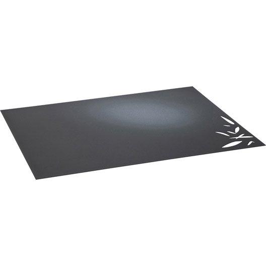 Plaque de protection sol acier noir sabl equation bambou cm x cm leroy merlin - Plaque acier protection poele ...