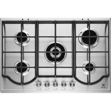 Plaque de cuisson gaz 5 foyers, inox, ELECTROLUX EGH7353BOX