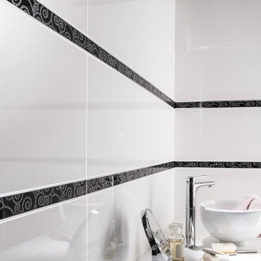 listel sunny volute noir argent l x cm leroy merlin. Black Bedroom Furniture Sets. Home Design Ideas