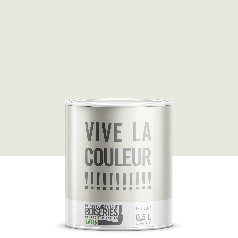 Peinture Gris Clair Satin Vive La Couleur 0 5 L Leroy Merlin