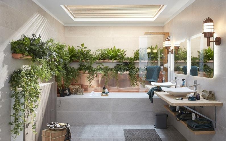 Des plantes dans une salle de bains v g tale leroy merlin - Plantes de salle de bain ...