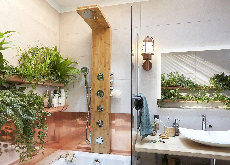 colonne de douche en bois dans une salle de bains v g tale leroy merlin. Black Bedroom Furniture Sets. Home Design Ideas
