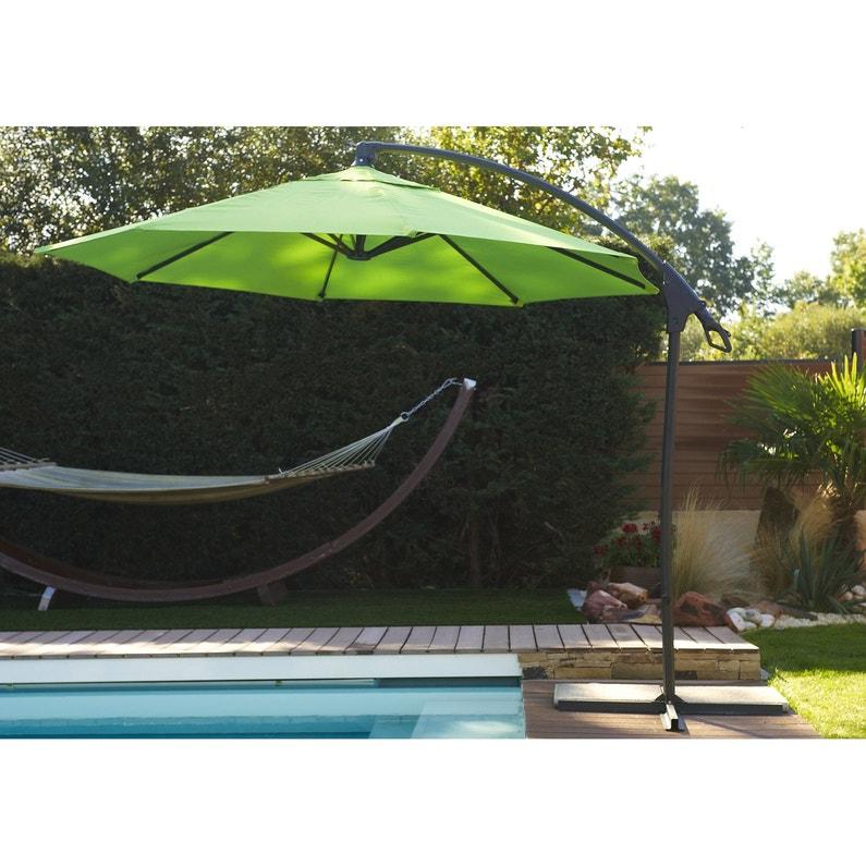 Parasol déporté Malaga vert rond, L.300 x l.300 cm