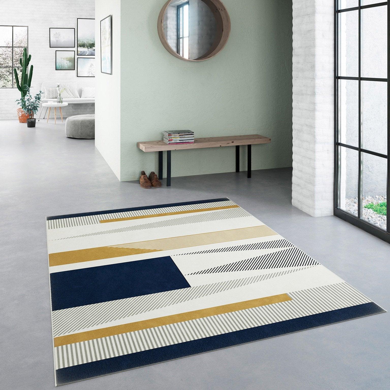 Tapis décoratif multicouleur<multisep/>bleu rectangulaire, l.120