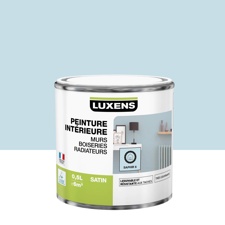 Peinture, mur, boiserie, radiateur, Multisupports LUXENS, saphir 6, satin, 0.5 l