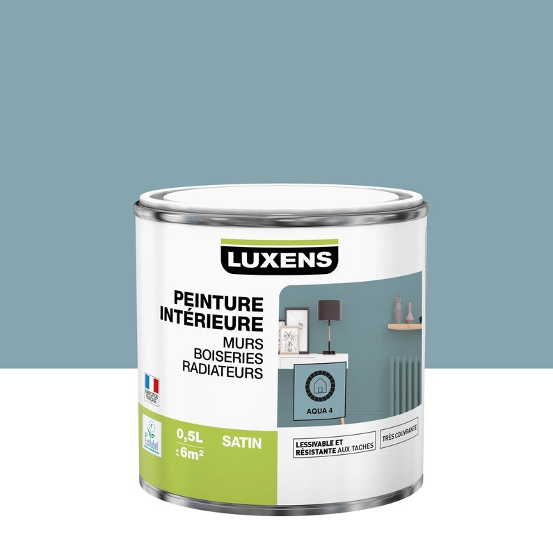 Peinture Mur Boiserie Radiateur Multisupports Luxens Aqua 4 Satine 0 5 L Leroy Merlin