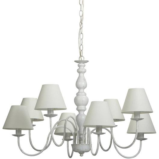 lustre e14 style classique campagne m tal blanc 8 x 25 w. Black Bedroom Furniture Sets. Home Design Ideas
