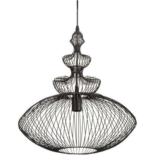 suspension persia seynave noir 60 watts diam 44 cm leroy merlin. Black Bedroom Furniture Sets. Home Design Ideas