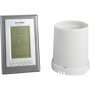 Pluviomètre et sonde silver et blanc sans fil INOVALLEY