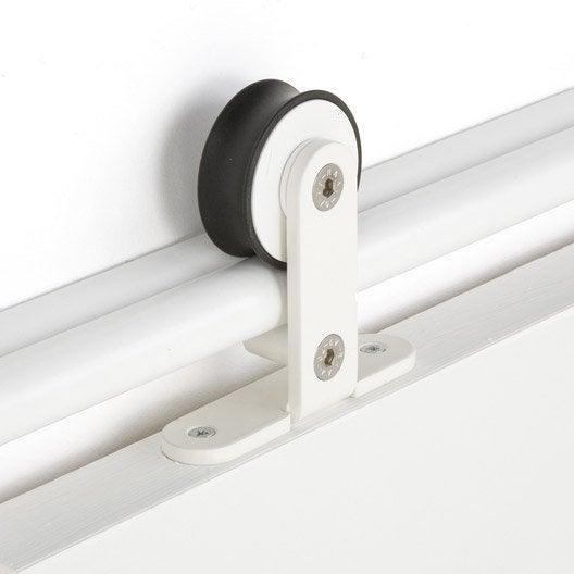 Rail coulissant aluminium anodis bolero 2 blanc pour porte 93 cm maxi ler - Leroy merlin rail coulissant ...