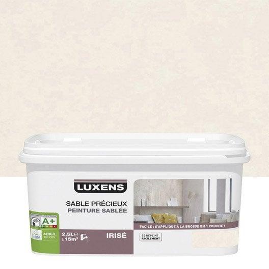 Peinture effet sable pr cieux luxens blanc calcaire 6 2 5 l leroy merlin - Peinture murale effet nacre ...