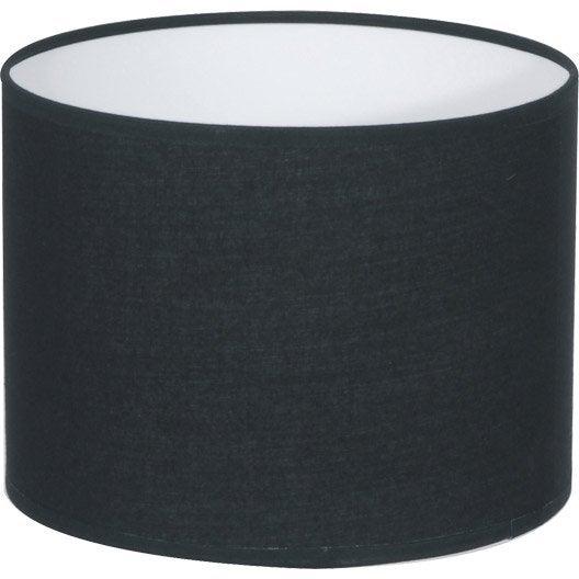Abat jour tube 40 cm coton noir inspire leroy merlin - Abat jour suspension leroy merlin ...