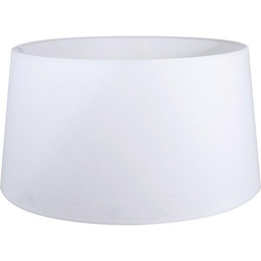 Abat-jour Drum, 50 cm, coton, blanc-blanc n°0 INSPIRE | Leroy Merlin