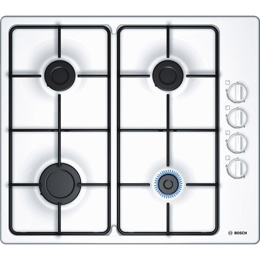 plaque de cuisson gaz 4 foyers blanc bosch pbp6b2b80. Black Bedroom Furniture Sets. Home Design Ideas