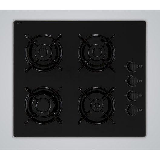 plaque de cuisson gaz 4 foyers, noir, frionor t4gvnofri | leroy merlin