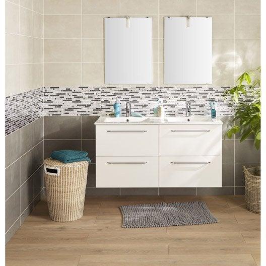 Meuble de salle de bains blanc 120 cm avec miroir et 3 for Miroir salle de bain avec spot
