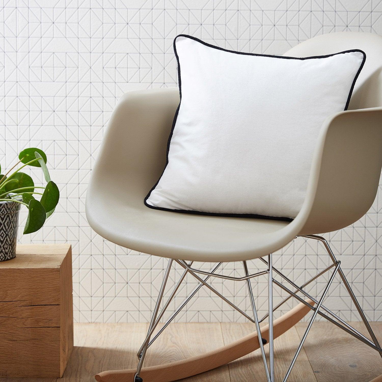 Coussin Elis INSPIRE, blanc / noir l.40 x H.40 cm