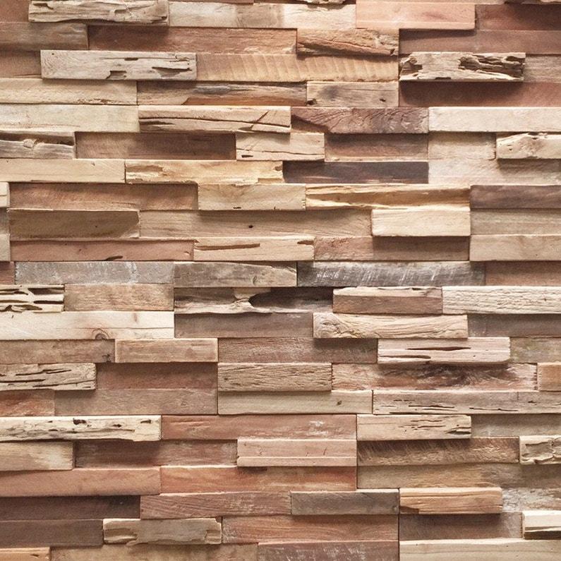 Plaquette De Parement Teck Ultrawood Teck Brut Vieilli L 49 5 X L 18 Cm Ep 20