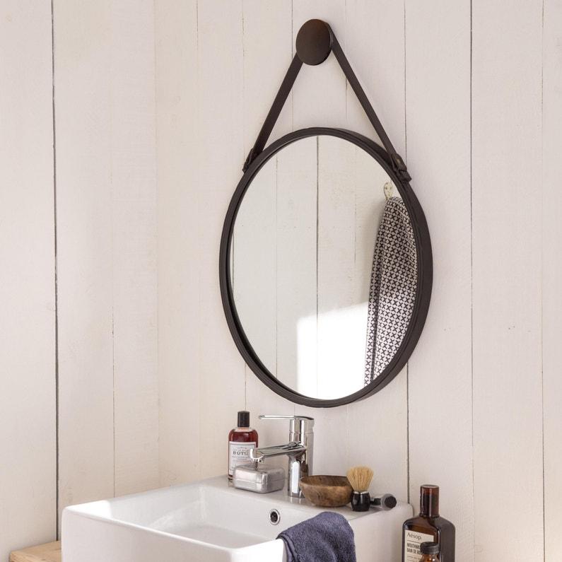 Miroir rond Barbier, noir, l.53 x H.53 cm