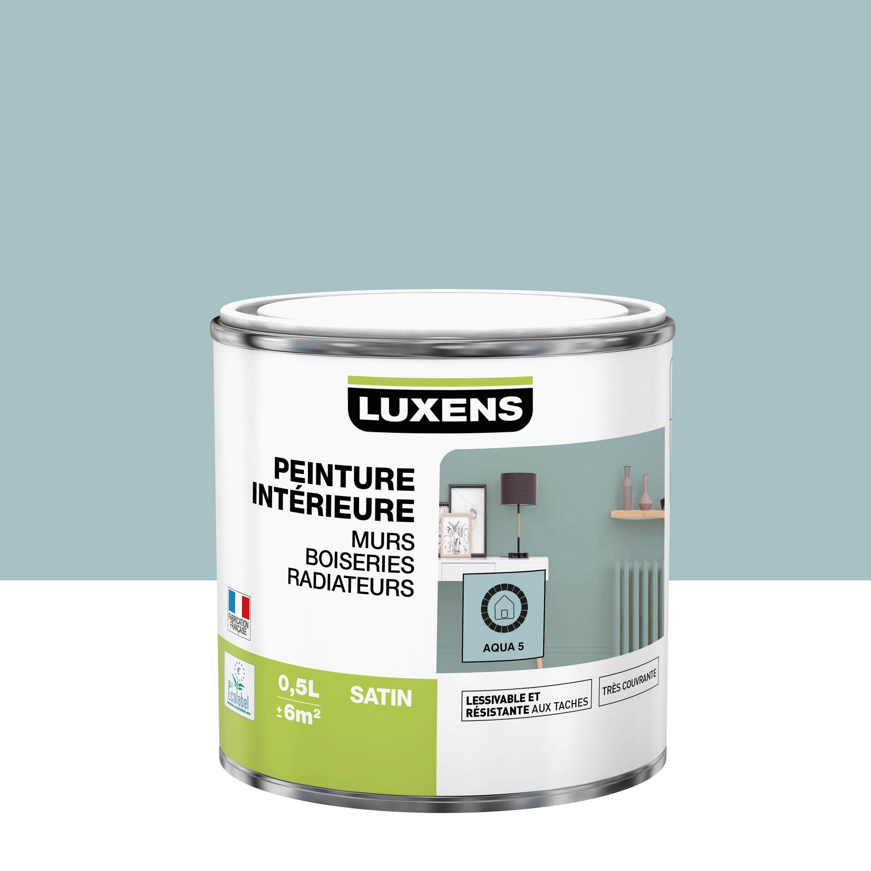 Peinture mur, boiserie, radiateur Multisupports LUXENS aqua 5 satiné 0.5 l