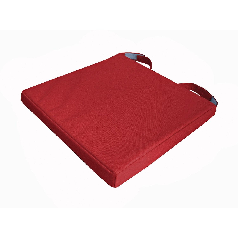 Galette de chaise imperméable Mona INSPIRE, rouge, l.40 x P.40 x H.4 ...
