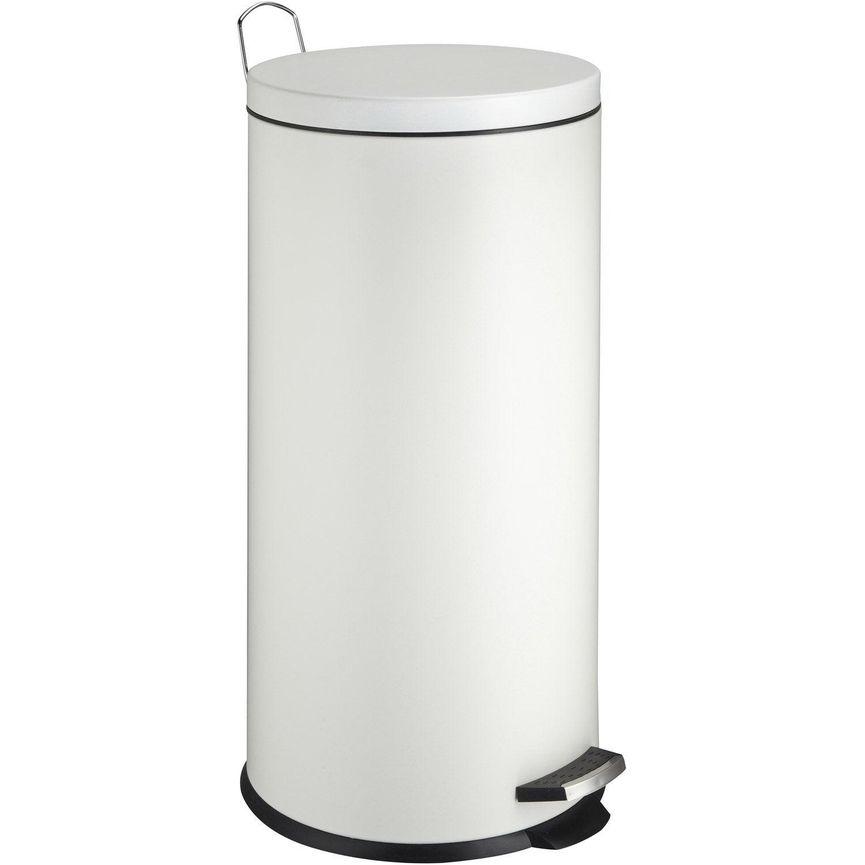 Poubelle de cuisine à pédale FRANDIS métal blanc, 30 l