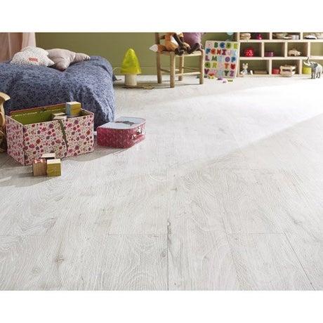 Lame PVC clipsable blanc effet bois blanchi First