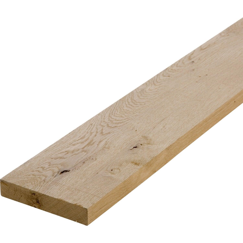 Planche chêne petits noeuds raboté, 28 x 150 mm, L.2.2 m