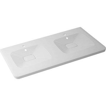 Plan vasque double Shine Marbre de synthèse 120.0 cm