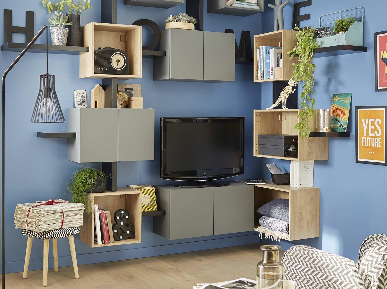 Am nagement placard dressing et meuble de rangement leroy merlin - Espaces rangements astucieux salon ...