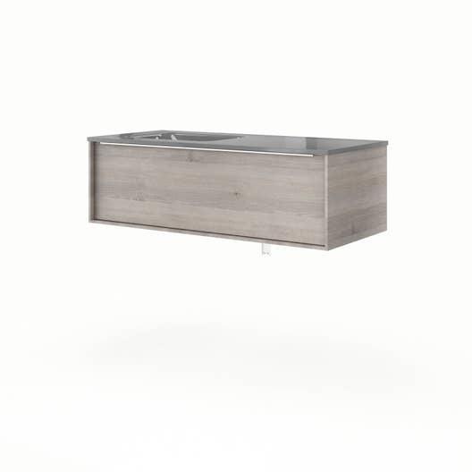 Meuble vasque 106 cm chêne gris, Neo frame   Leroy Merlin