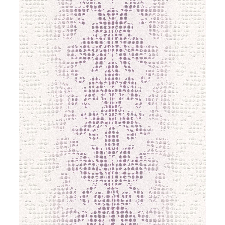 Papier peint expansé Médaillon Pixel lilas & blanc