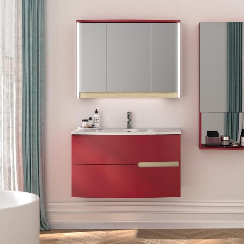 Meuble simple vasque l.90.2 x H.53.6 x P.51.6 cm, rouge tomette ...