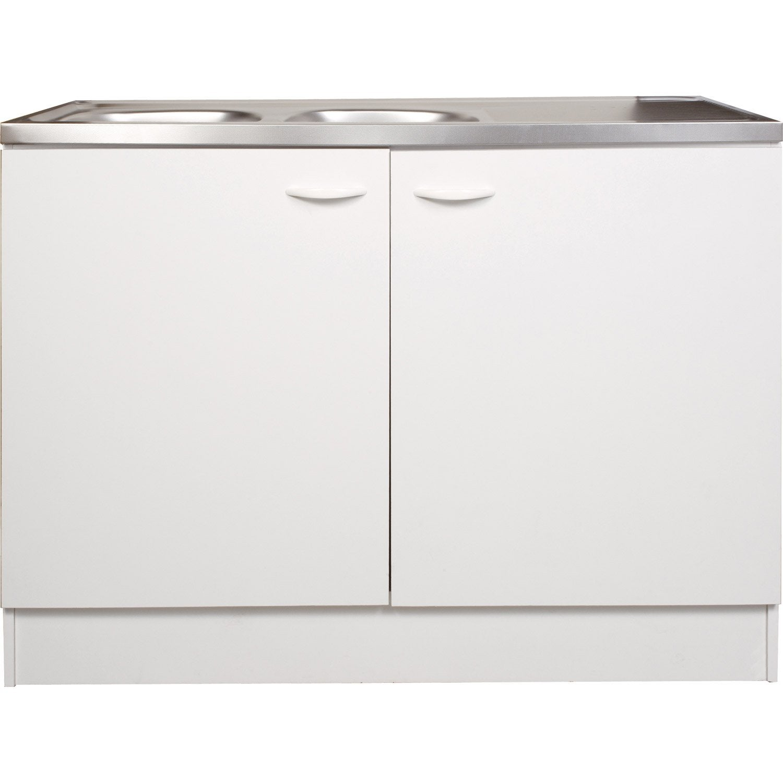 meuble de cuisine sous vier 2 portes blanc h86x l120x p60cm leroy merlin. Black Bedroom Furniture Sets. Home Design Ideas
