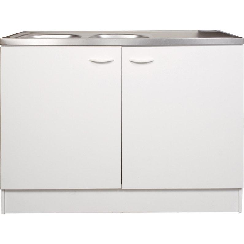 meuble de cuisine sous vier 2 portes blanc h86x l120x. Black Bedroom Furniture Sets. Home Design Ideas