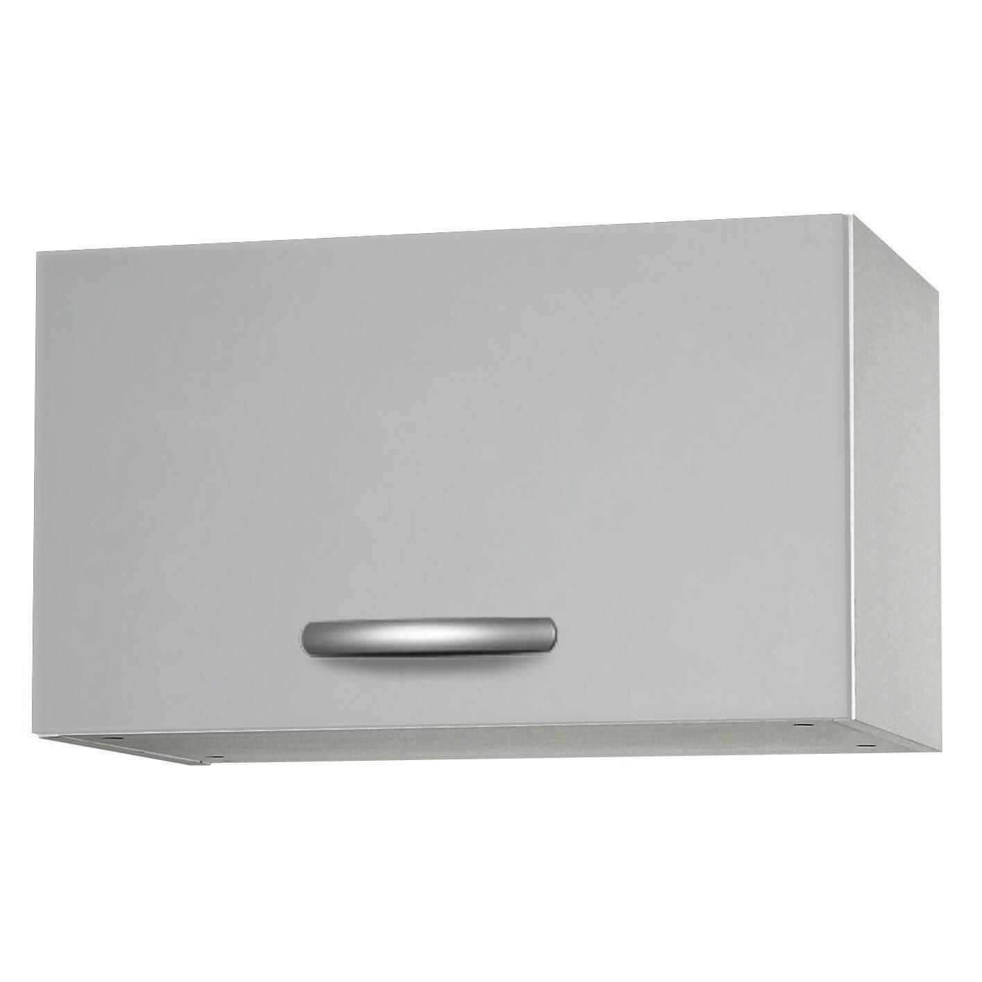 Meuble de cuisine haut 1 porte gris aluminium for Facade cuisine aluminium